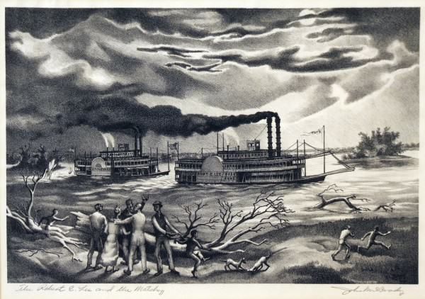 2005.005.65 | John McCrady | THE ROBERT E. LEE AND THE NATCHEZ | lithograph | 9.75 x14.5"