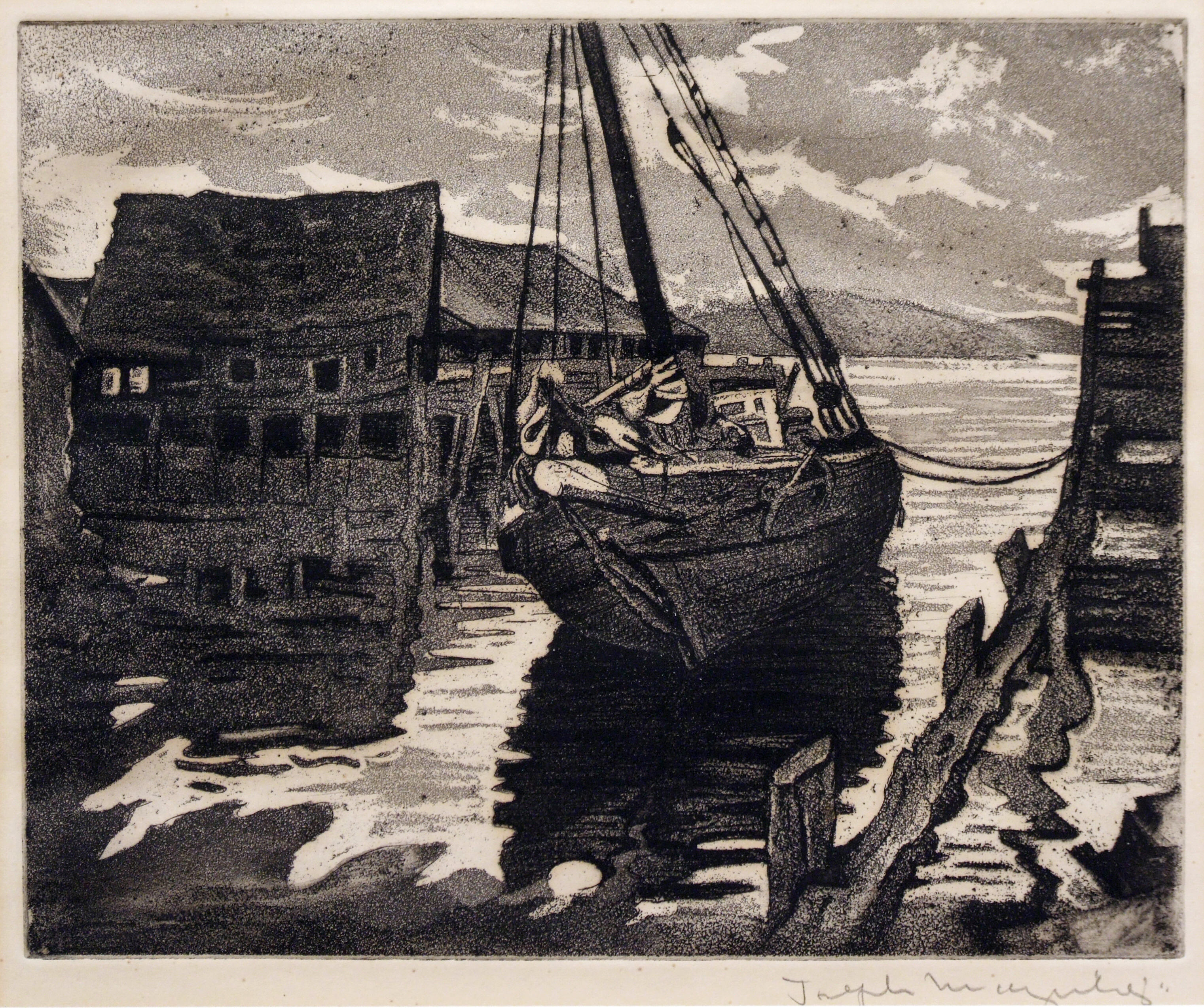 1986.015 | Joseph Margulies | PEACEFUL HARBOR | etching on paper | 7-1/2 x 10-1/4"