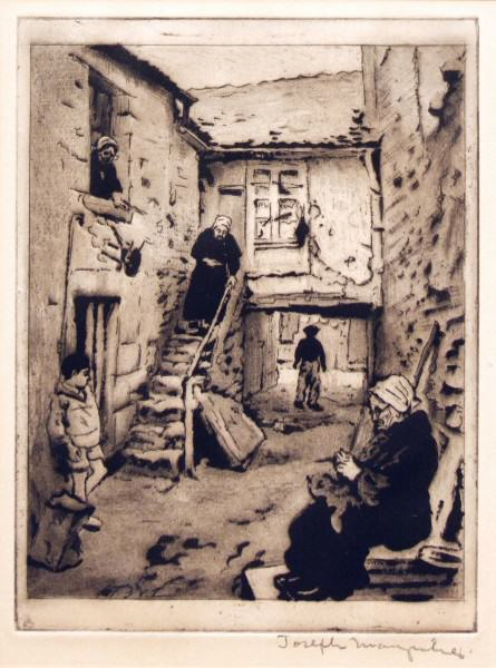 2005.005 | Joseph Margulies | BRETON ALLEYWAY | etching | 9.75 x 7.5"