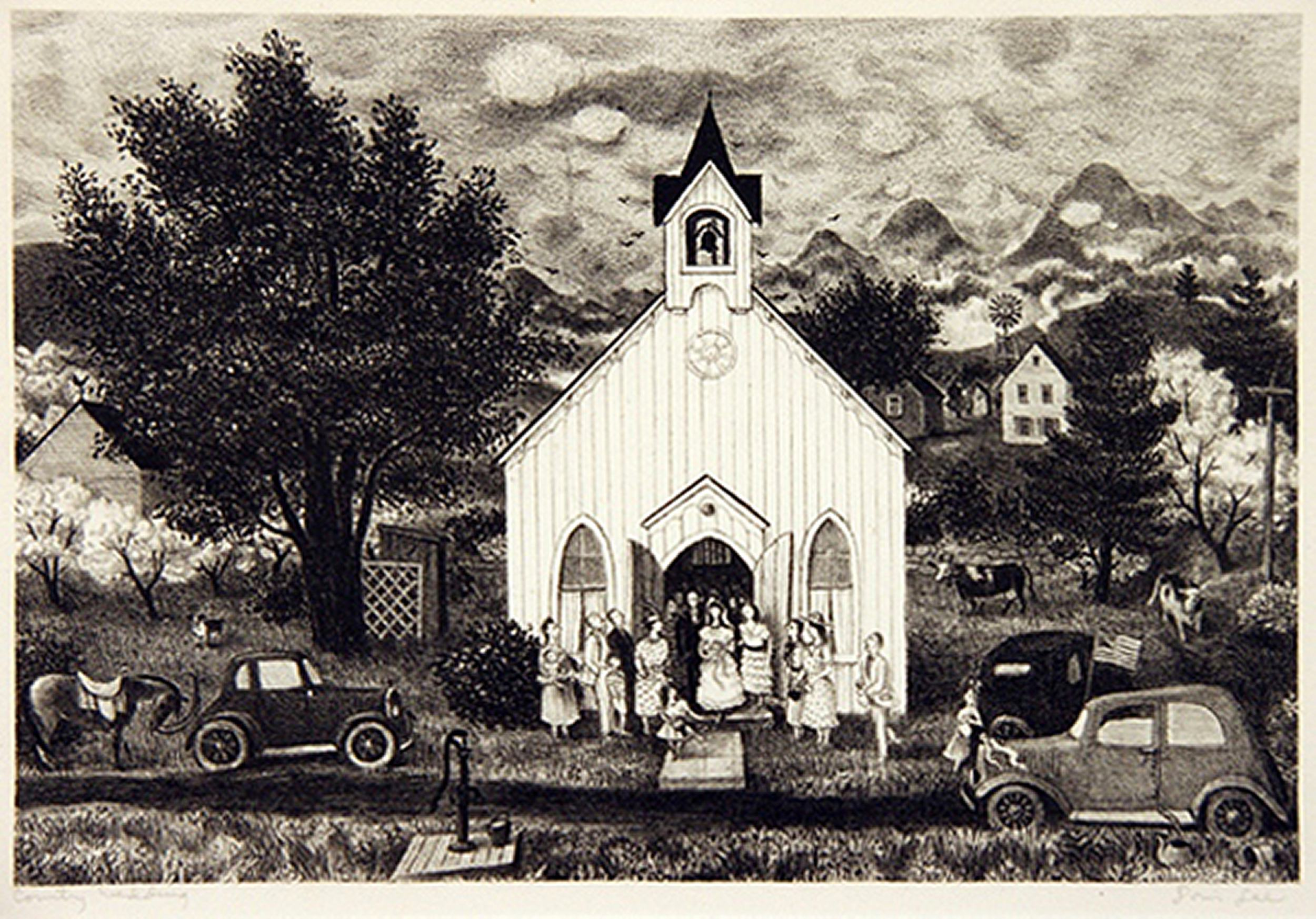 2005.005 | Lee, Doris Lee | COUNTRY WEDDING | lithograph 8 X 11-3/4"