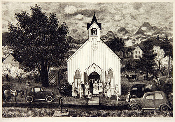 2005.005 | Doris Lee | COUNTRY WEDDING | lithograph | 8 x 11.75"