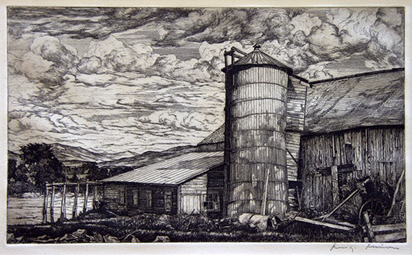 2005.005 | Luigi Lucioni | LEANING SILO | Donated by Ms. Susan Wayne and Miss Leslie Wayne Loftus