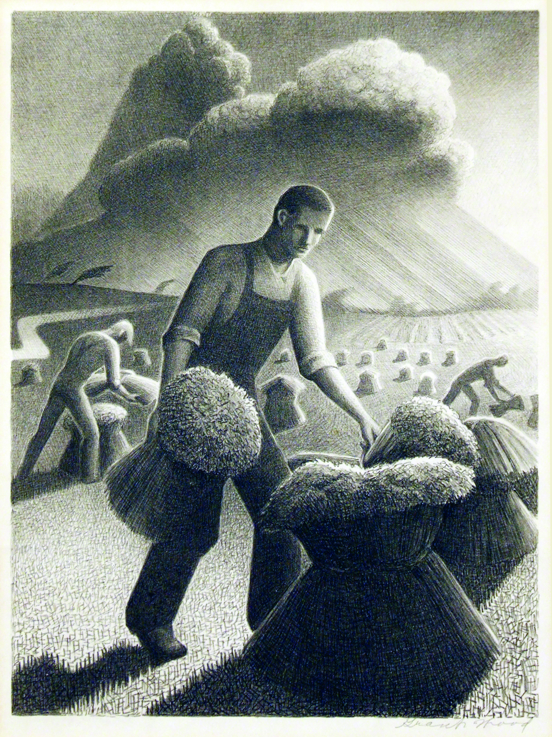 2005.005.71 | Grant Wood | APPROACHING STORM | lithograph | 12 x 9"