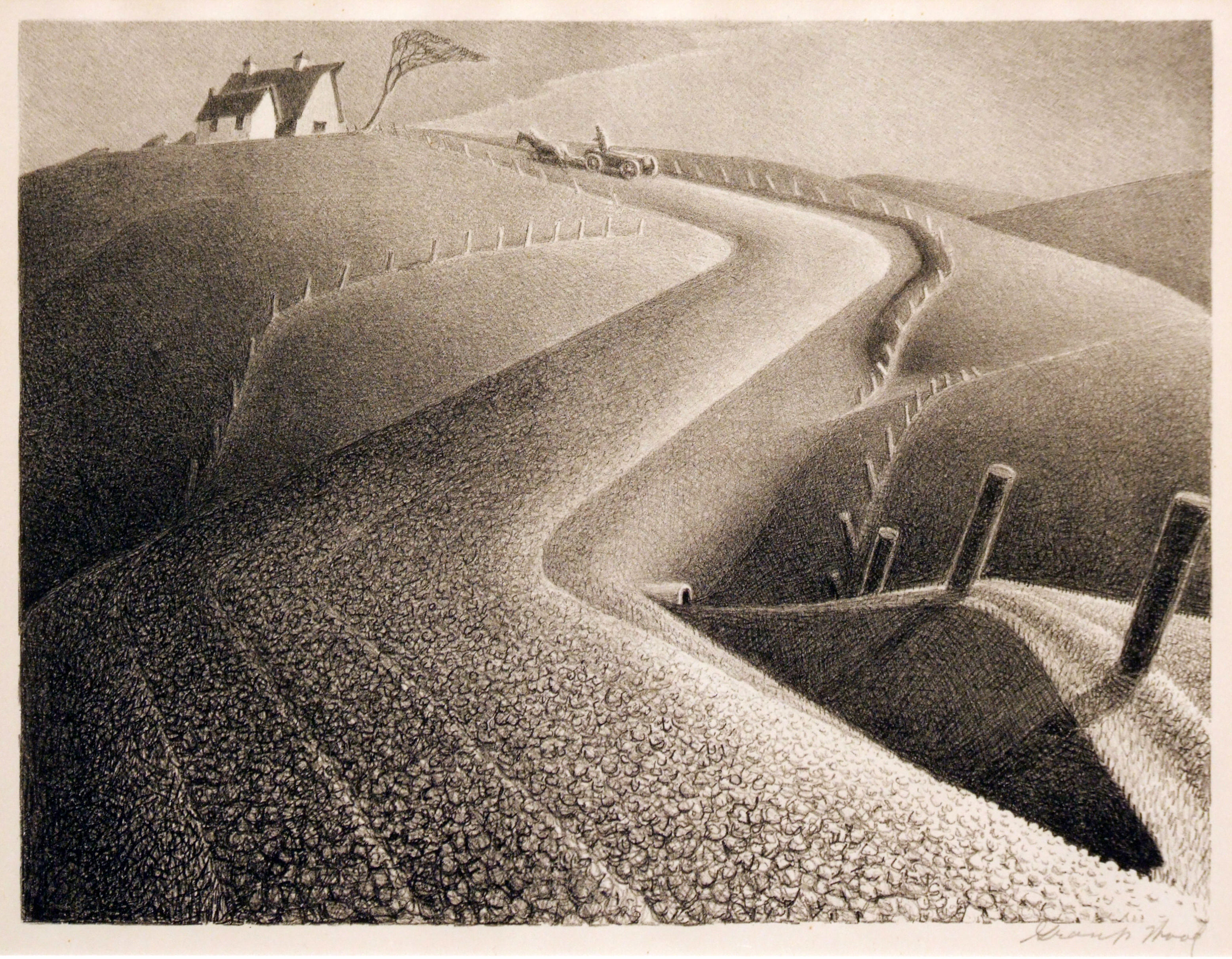 2005.005 | Grant Wood | APPROACHING STORM | lithograph | 12 x 9"