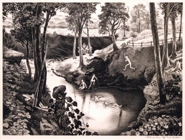 2005.005.70 | Charles B. Wilson | THE SWIMMING HOLE | lithograph | 10 x 13-1/2"
