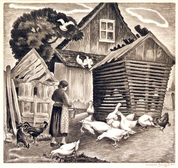 2005.005 | Mabel Dwight | FARMYARD | lithograph | 10 x 10-3/4"