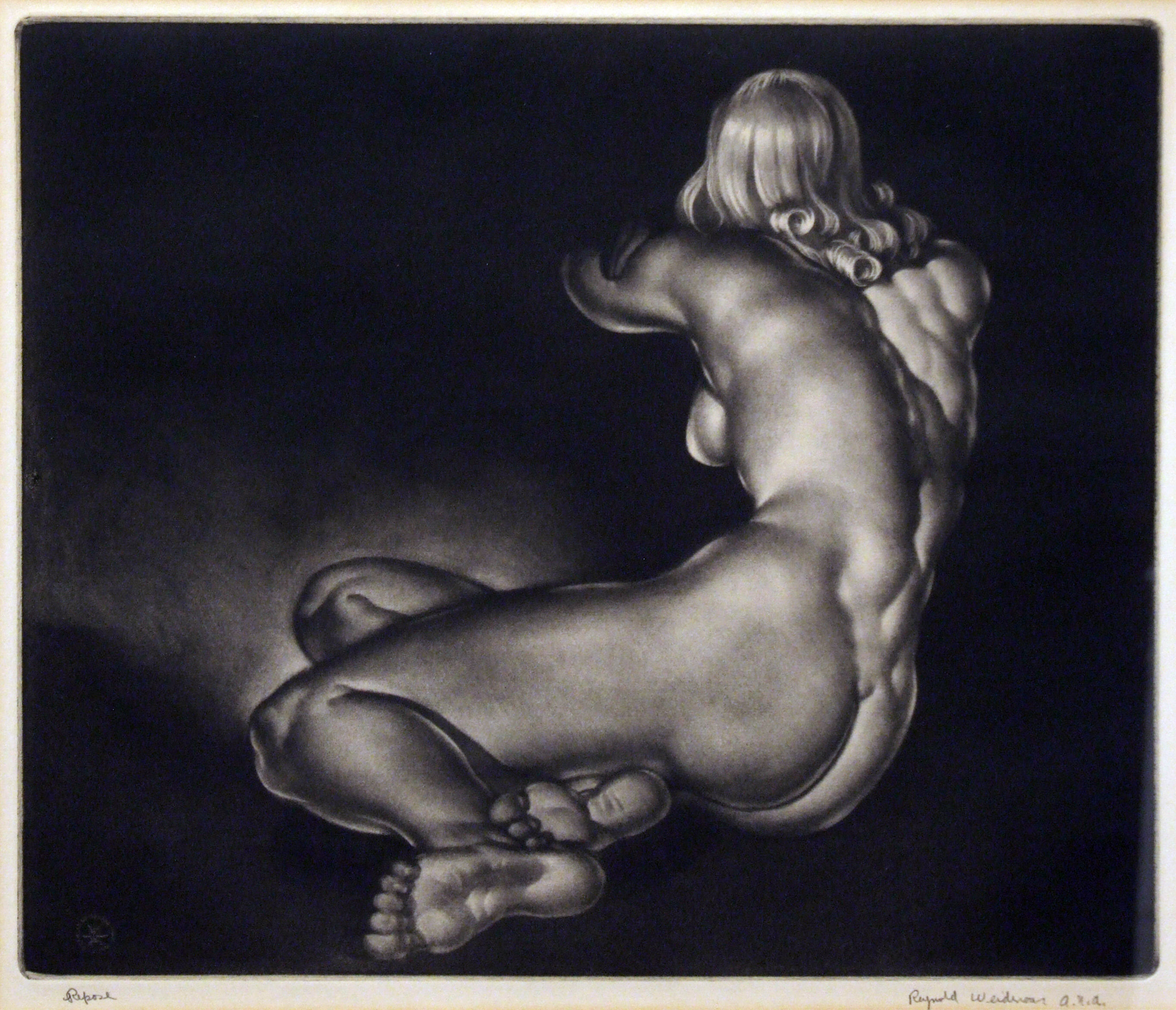 2005.005 | Reynold Weidenaar | REPOSE |  mezzotint | 10-3/4 x 13"