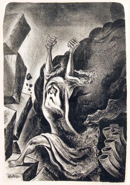 2005.005.43 | William Gropper |JOSHUA FOUGHT THE BATTLE OF JERICHO | lithograph | 14-1/2 x 10"