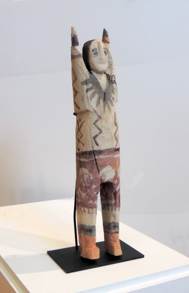 2006.008 | Charlie Willeto | FIGURE WITH LIGHTING BOLT AND YEI-BI-CHI DANCING OUTFIT | carved and painted wood | 23-3/4 x 5 x 4"
