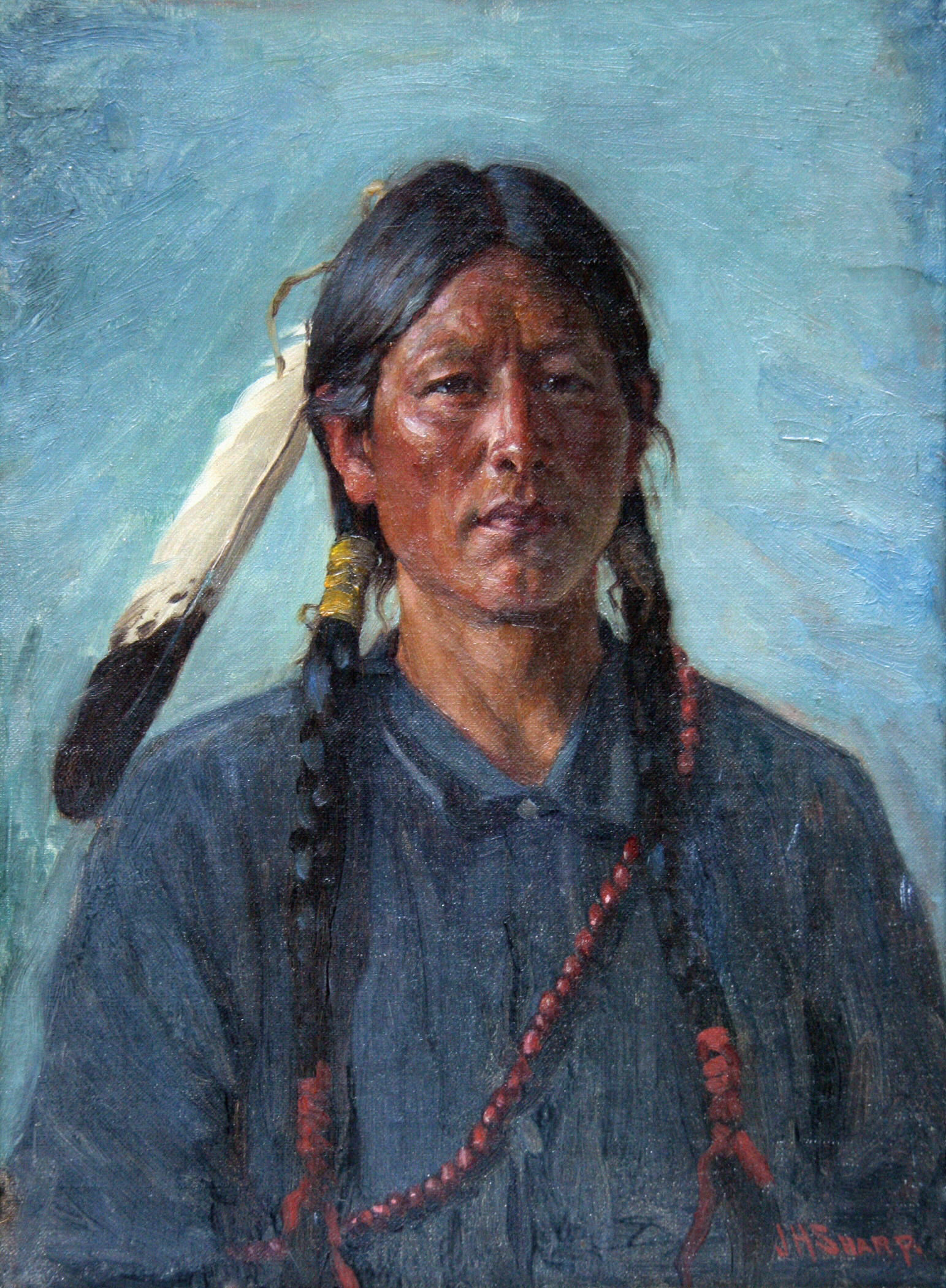 2008.002 | Sharp, Joseph Henry | UNTITLED (Native American Brave with Feather) | 16 x 20"