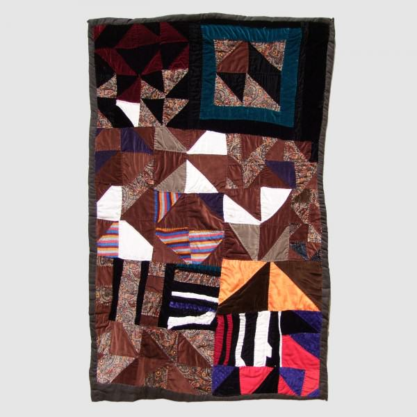 2010.001 Rosie Mae Tompkins | HALF SQUARES | pieced and embroidered velvet and mixed fabric | 46 x 30"