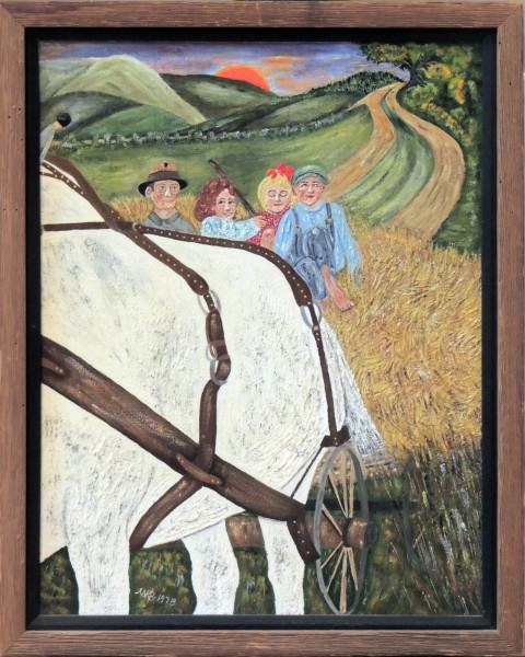 2011.005.10 | Mary Borkowski | RIDING HOME WITH PAPA | acrylic on canvas | 20 x 16"