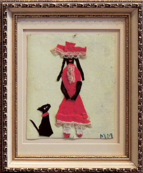Mary Francis Merrill | LADY IN RED AND DOG | collage | 10 x 8"