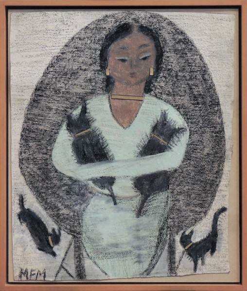 2011.005.17 | Mary Francis Merrill | LADY WITH CATS | crayon and paint | 25 x 19 -1/2"