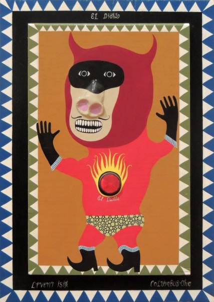 Levent Isik | EL DIABLO |carved and painted wood |14 x 19"