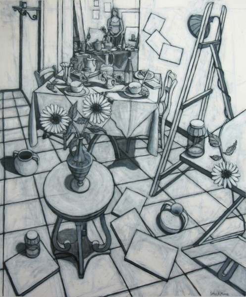 Kathie A. Moore | LOOKING DOWN AT FLOWERS AND UP INTO MIRROR | black conte crayon, gesso, heavy stock paper | 2010