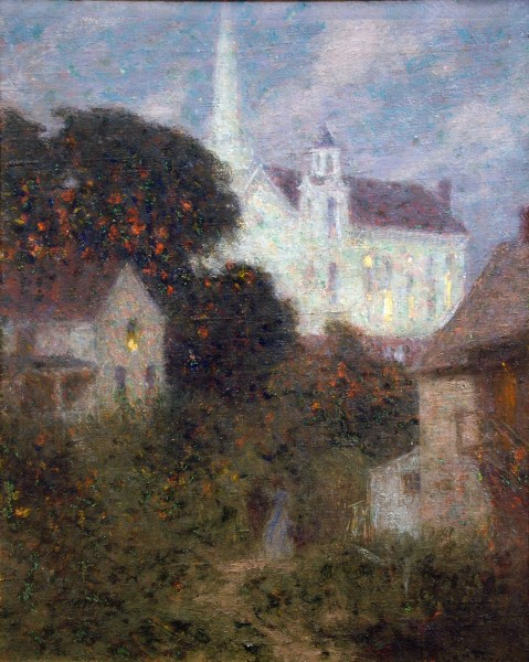 Edward Henry Potthast | CHURCH IN THE MOONLIGHT | oil on canvas | 20 x 16 | undated