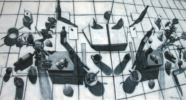 Kathie A. Moore | AERIAL VIEW AND MIRRORED IMAGE | black conte crayon, gesso, heavy stock paper | 2010
