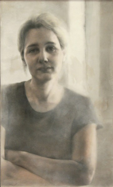 Tamie Beldue | DANIELLE IN HER STUDIO | graphite, watercolour, encaustic | 2009