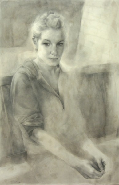Tamie Beldue | PORTRAIT ON PORCH SWING | graphite, watercolour, encaustic | 2009
