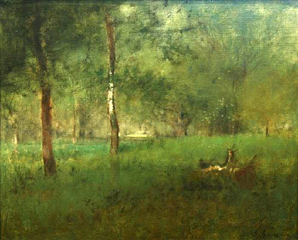 George Inness | WOODED INTERIOR, MONTCLAIR, NJ  | oil on canvas | 25 x 30"