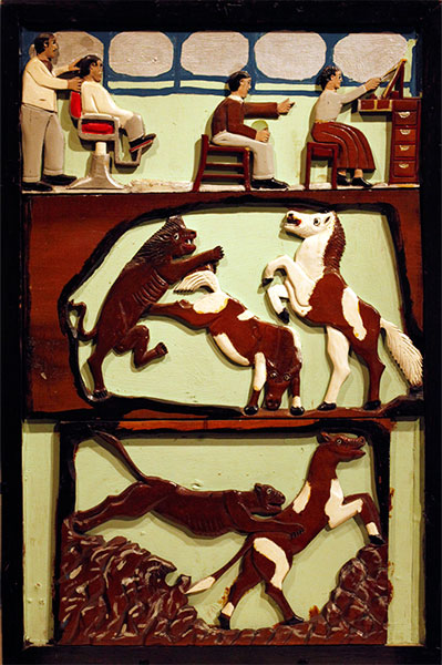 Elijah Pierce | GOOD VERSUS EVIL | c.1930s | wood, paint, cloth