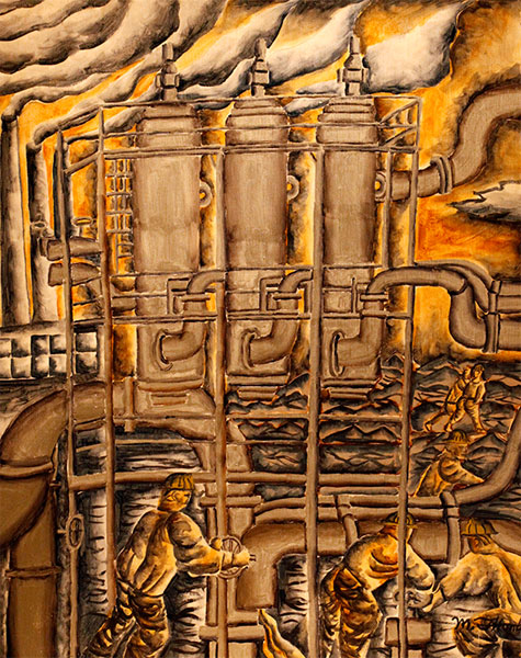 Mark Thomas | OIL REFINERY ON FIFTH AVENUE | c.2010 | acrylic on wood