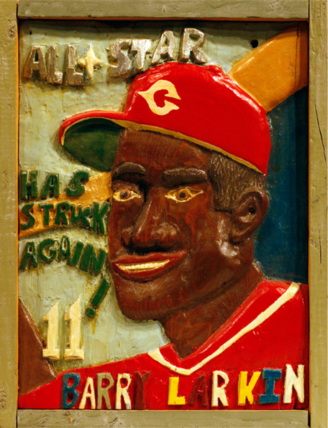 Ricky Barnes | BARRY LARKIN #1 | c.1990 | carved, painted wood