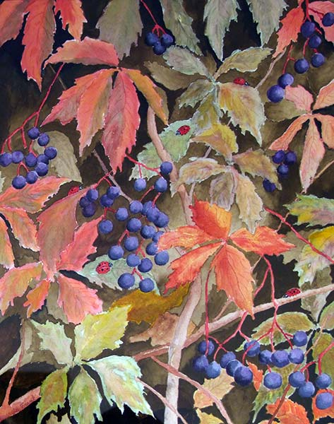 Third Place: Amateur | Marcia Franks | LADYBUGS IN THE LEAVES | watercolor