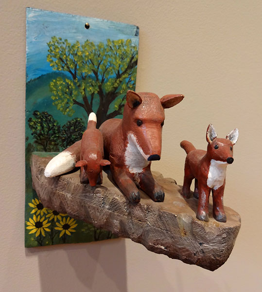 Stephen Sabo | FOX FAMILY | carved and painted wood