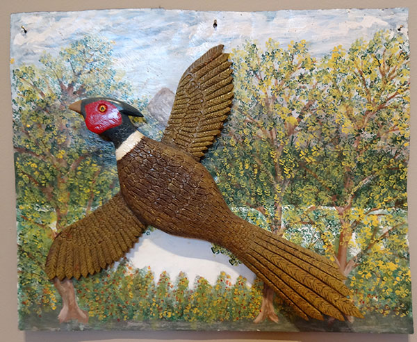 Stephen Sabo | PHEASANT | carved and painted wood on metal