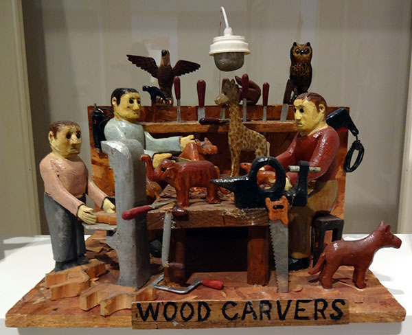 Stephen Sabo | THE WOODCARVER |  carved and painted wood, mixed media