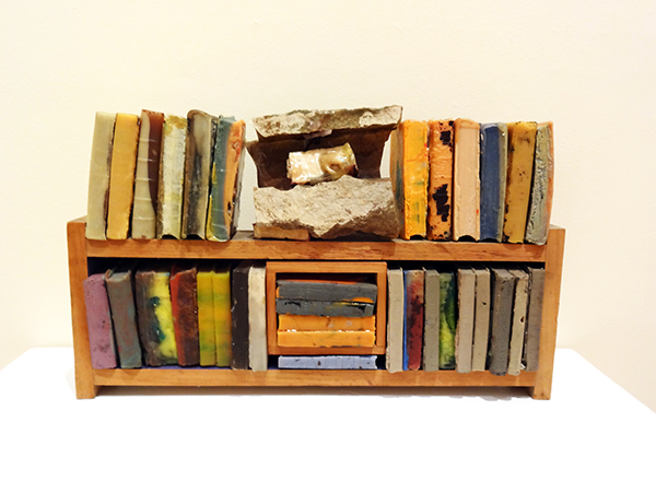 "Stella Waitzkin | UNTITLED (2 Shelf Library) | Cast polyester resin and wood | 12"" x 20"" x 4"" 