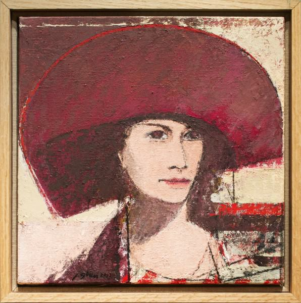 "Jack Osbun | WOMAN WITH A RED HAT | oil paint on linen canvas | 15""x15"" 