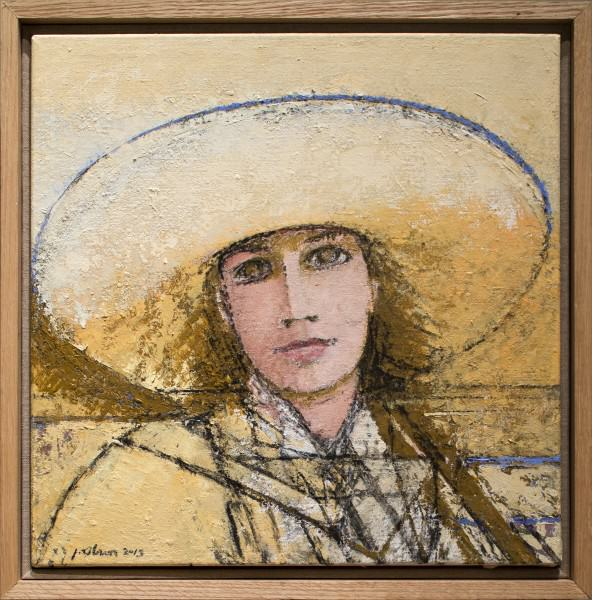 "Jack Osbun | WOMAN WITH A YELLOW HAT | oil paint on linen canvas | 15""x15"" 
