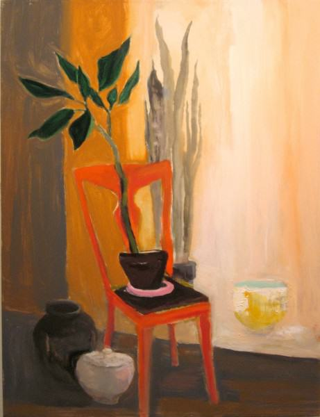 Larry Shineman | RED ORANGE CHAIR, POTS AND PLANTS | 40 x 30 | acrylic on canvas | 2013