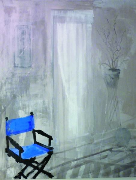 Larry Shineman | SUNLIGHT AND BLUE CHAIR | 72 x 56 | acrylic on canvas | 2014