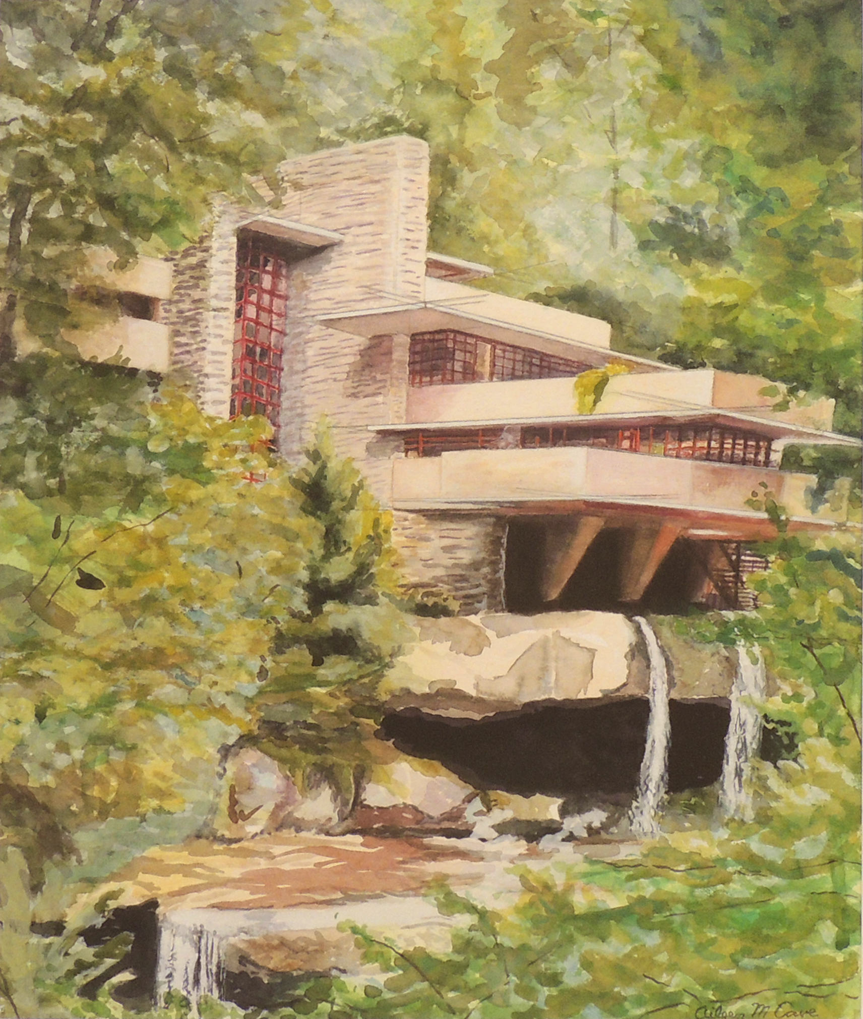 Aileen M. Cave | FALLINGWATER | Watercolor on Paper