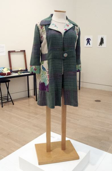 Alyson Annette Eshelman | SILK JACKET | handwoven, hand-dyed silk with echino fabric | 35 x 21 x 13"