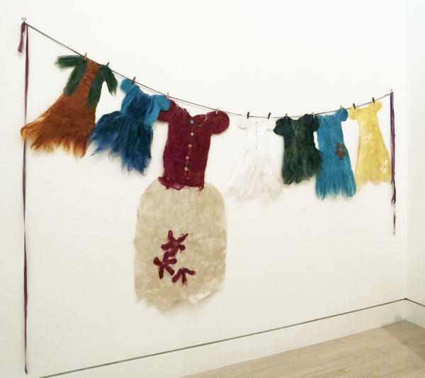 "Alyson Annette Eshelman | SILK PAPER DRESSES | silk paper | 81 x 107"" | 2011"