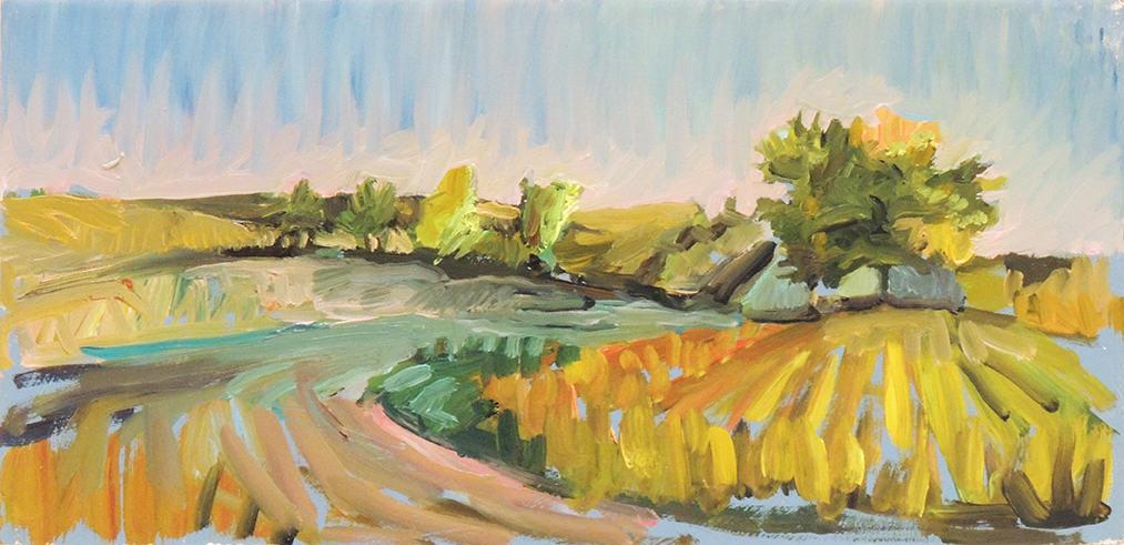 """Amy MacLennan   FIELD NORTH OF LEBANON - ILLINOIS   Oil on panel   5 x 10"""""""