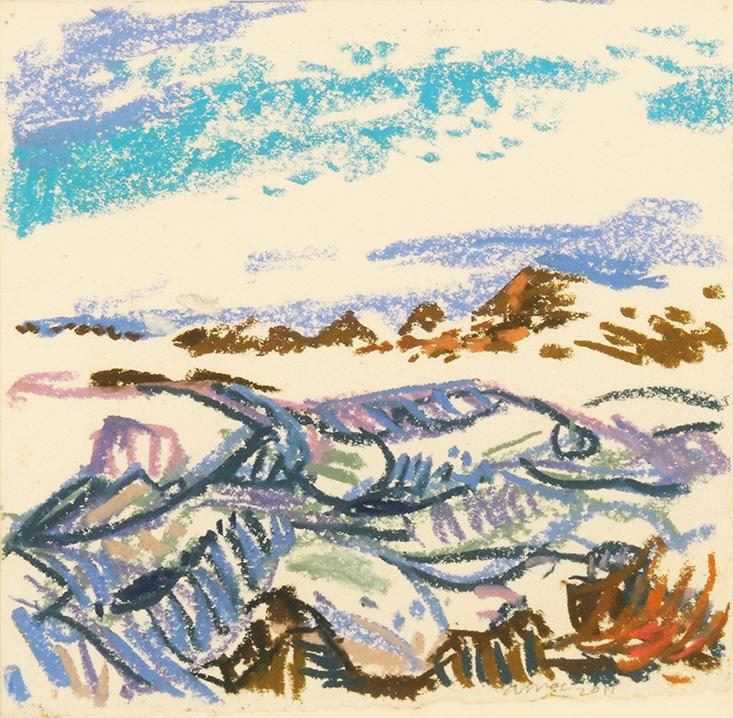 "Amy MacLennan   WYOMING SERIES - SNOW BANK ON PINEY CREEK   Pastel on paper   6 x 6""   2011"