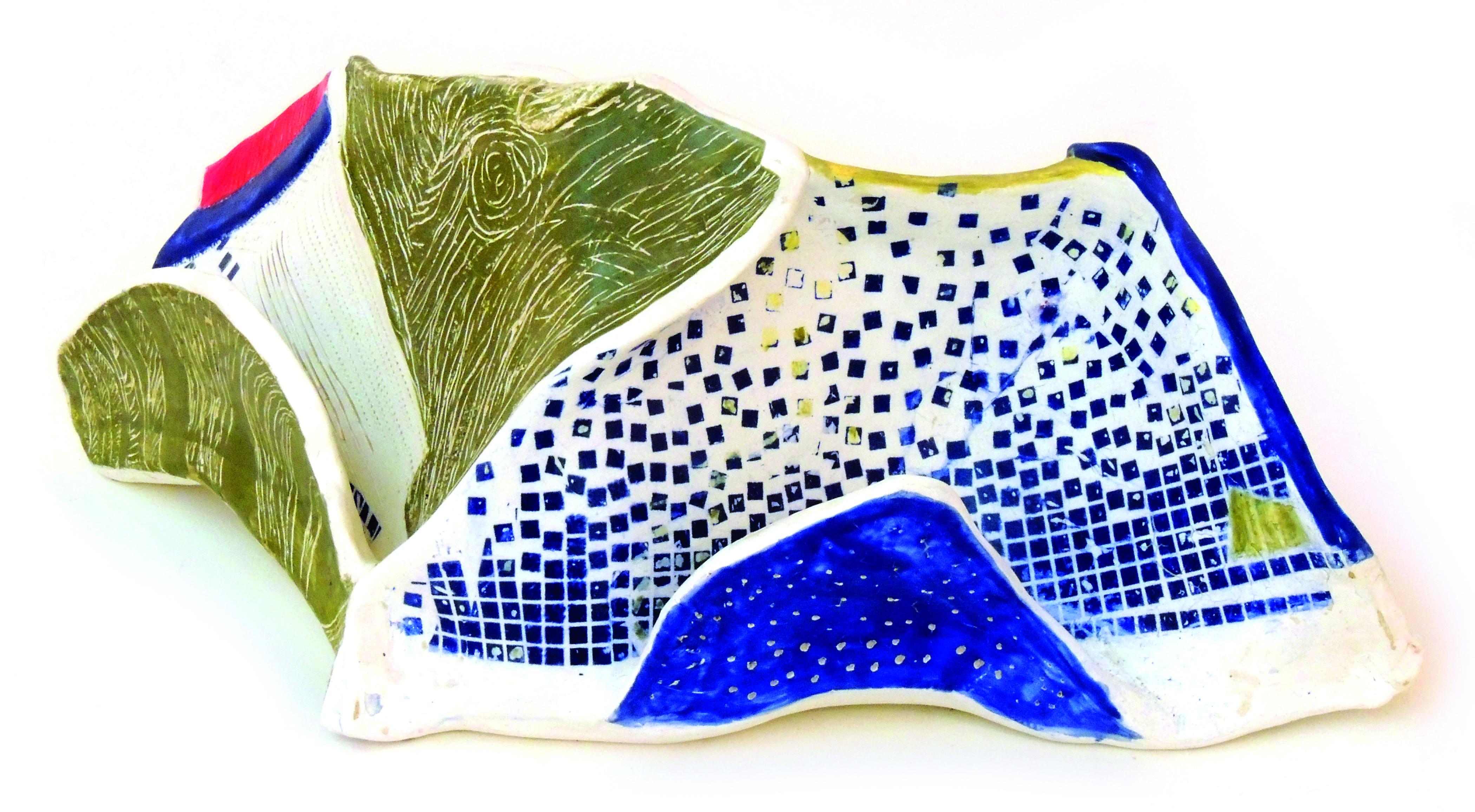Babs Janko | RHYTHMS & BLUE TOAD HOUSE | Mid-range stoneware, underglaze scrafitto & transfer