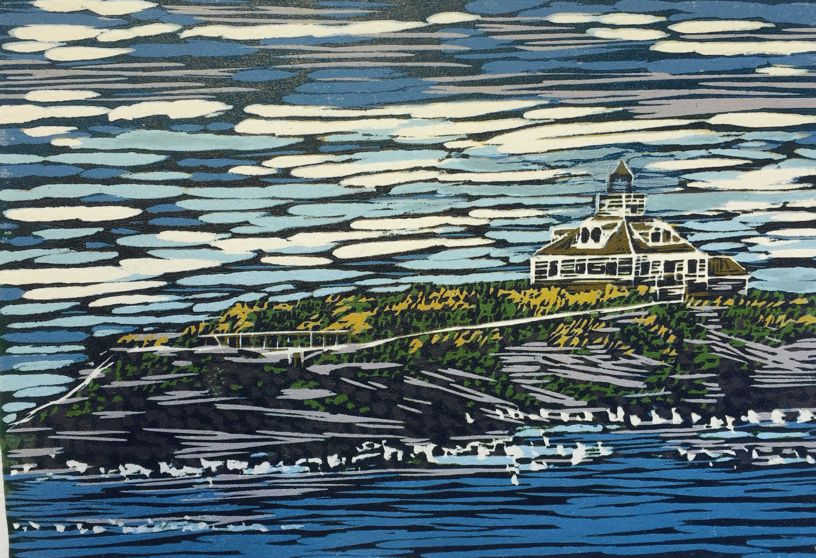 Barb Weinert-McBee | LIGHTHOUSE IN MAINE | relief | 7x10 | 2016