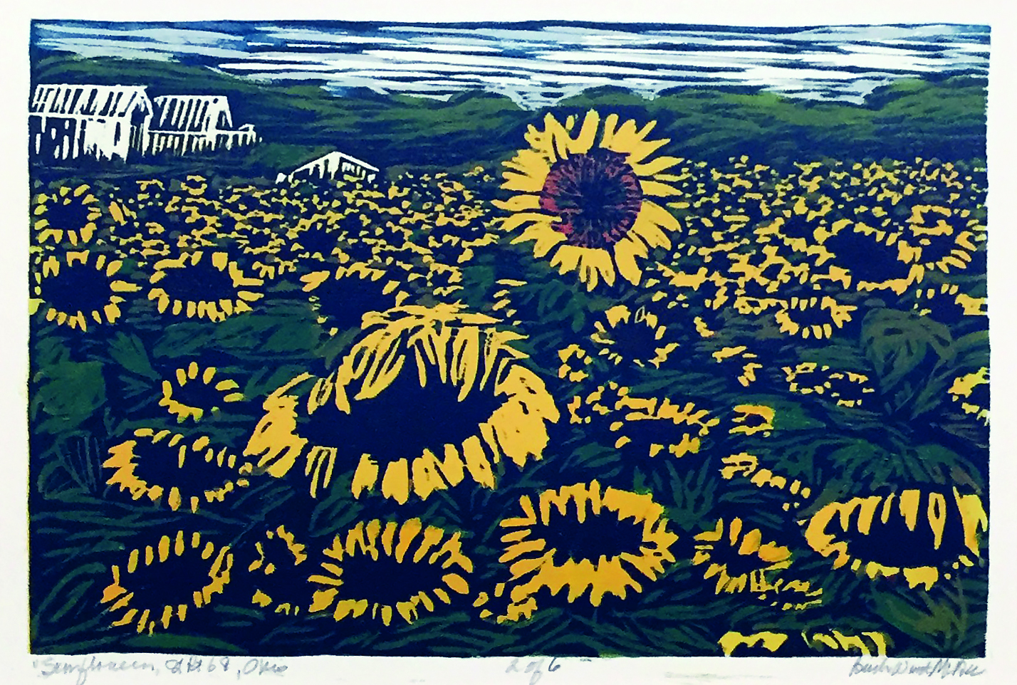 Barb Weinert-McBee | SUNFLOWERS, ST. RT. 68, OHIO | Wood Relief