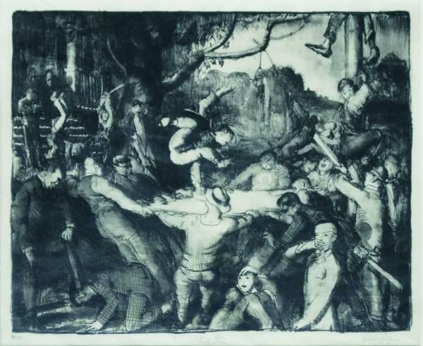 George Bellows | INITIATION IN THE FRAT | 1917 | lithograph |  10-1/4 x 12-5/8"