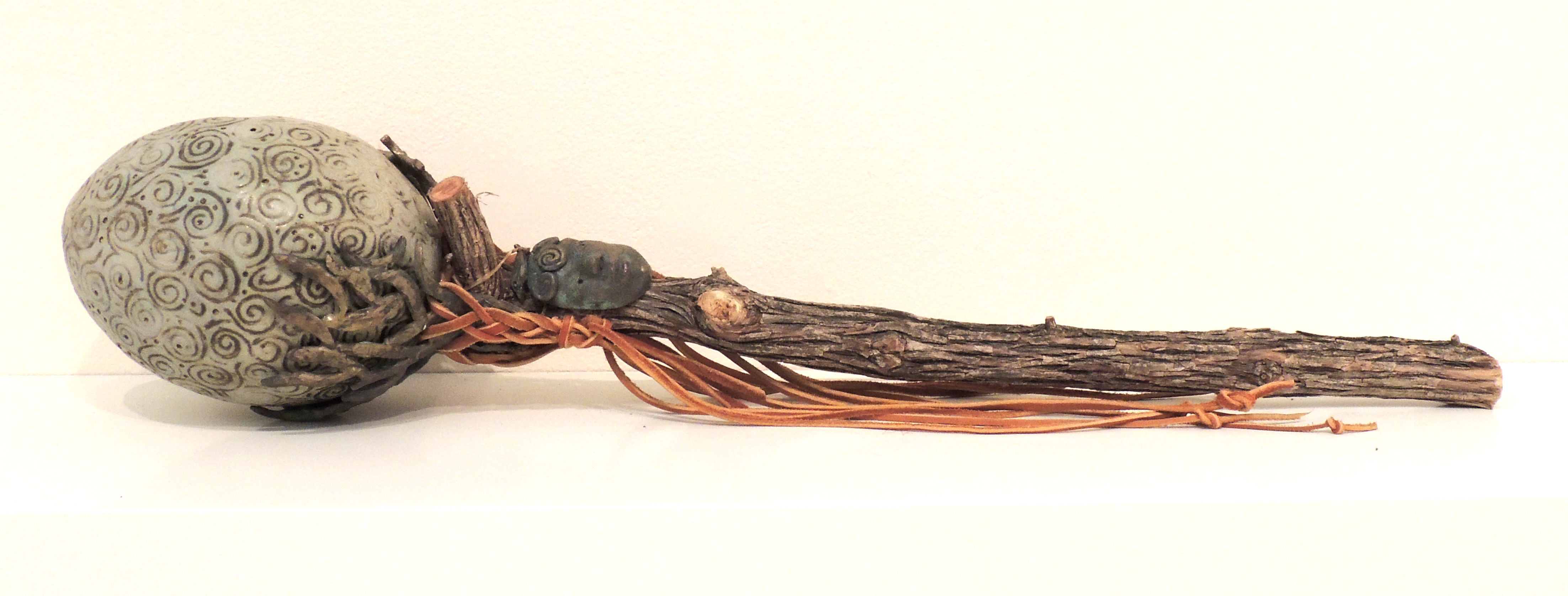 Bob Coates | FERTILITY WAND | clay, bronze, wood, leather