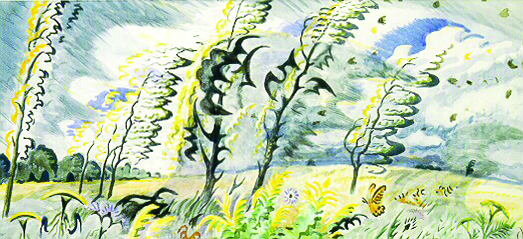 Charles Burchfield | SEPTEMBER WIND AND RAIN | 1949 | watercolor on paper | 22 x 48"