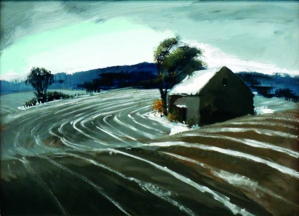 Carl Gaertner | SNOW IN THE FURROWS | late 1930s | mixed media on paper | 22-1/2 x 30-1/2"