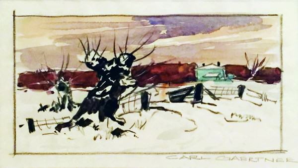 Carl Gaertner | TREE STUMP WITH HOUSE | 1920s | watercolor and mixed media study | 5-1/2 x 7-1/2"